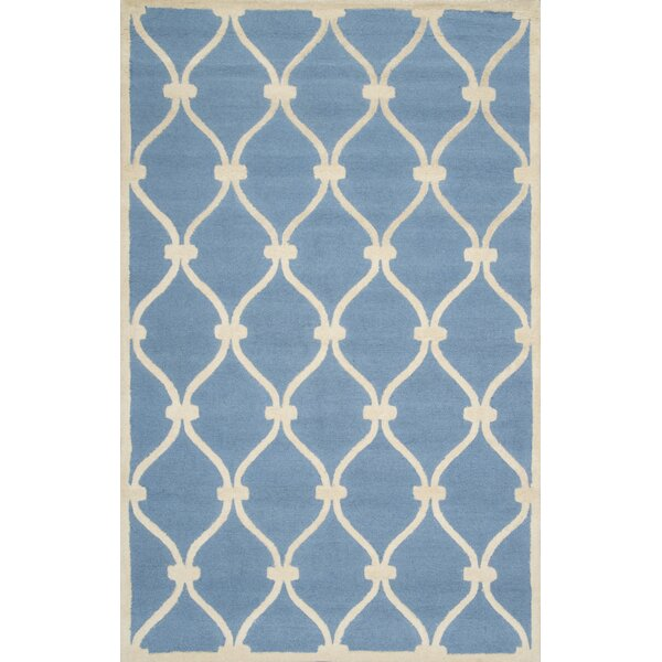 Trellis Shanel Hand-Woven Wool Blue Area Rug by nuLOOM