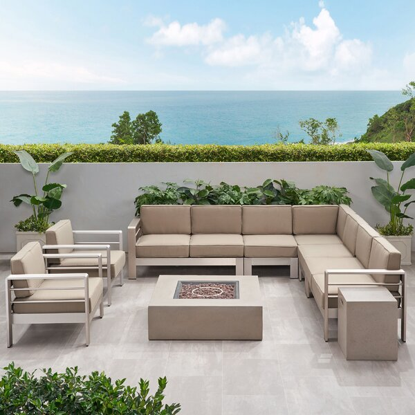 Gosport Outdoor L-Shaped 9 Piece Sectional Seating Group with Cushion by Brayden Studio