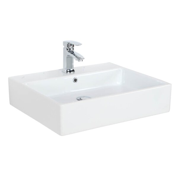 Simple Ceramic 24 Wall Mount Bathroom Sink with Overflow by WS Bath Collections