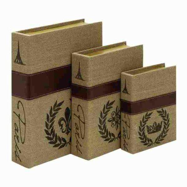 Stonington Wood Burlap Book Decorative Box by Ophelia & Co.