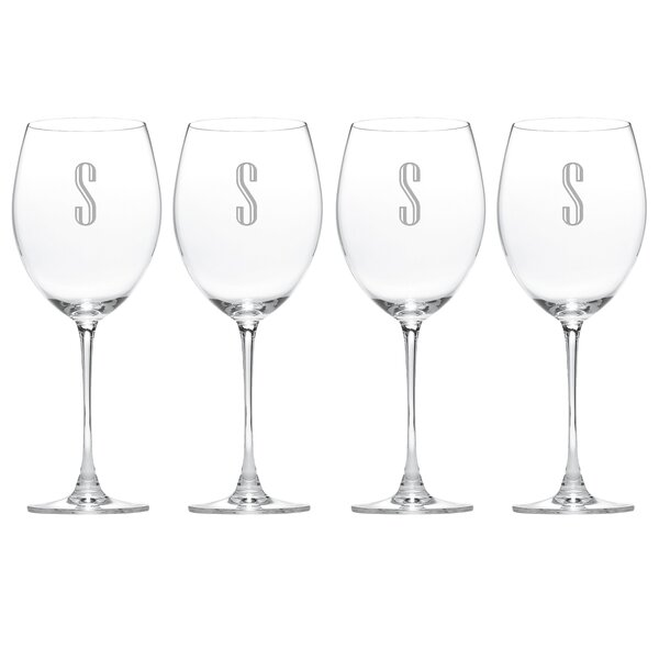 Charcoal Diamond Tuscany Monogram Grand Bordeaux   26.5 Oz. Red Wine Glass (Set of 4) by Lenox