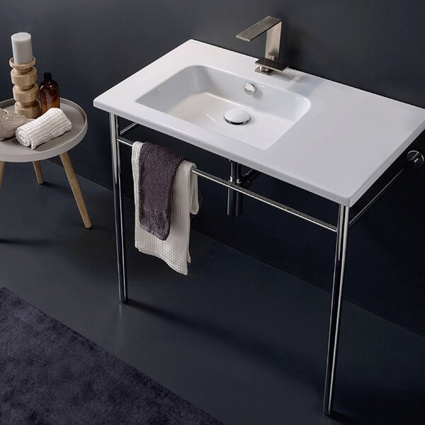 Ceramic 33'' Console Bathroom Sink with Overflow by Scarabeo by Nameeks