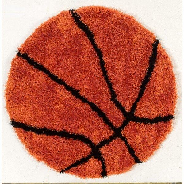 Jordyn Hand-Tufted Orange/Black Area Rug by Zoomie Kids