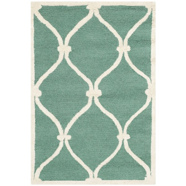 Martins Hand-Tufted Wool Teal/Ivory Area Rug by Wrought Studio