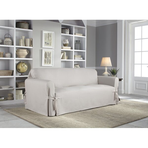Relaxed Fit Box Cushion Sofa Slipcover By Serta