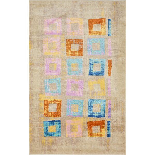 Annisville Beige/Blue Area Rug by Bungalow Rose