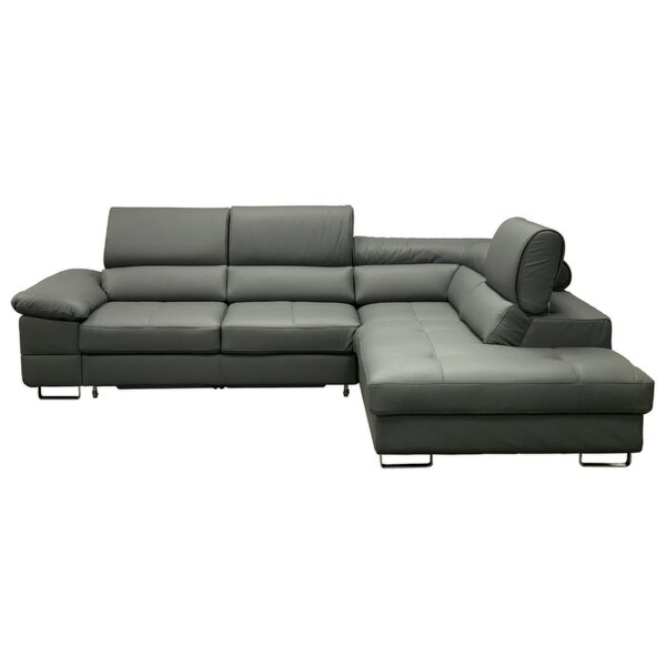 Gravely Leather Sleeper Sectional by Orren Ellis