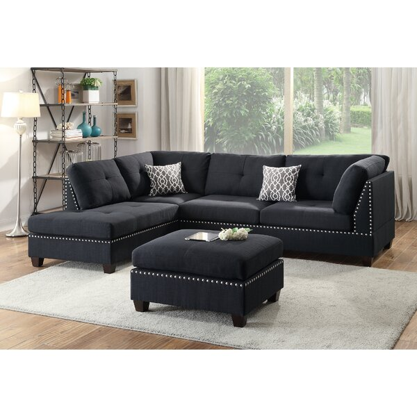 Bobkona Viola Reversible Sectional with Ottoman by