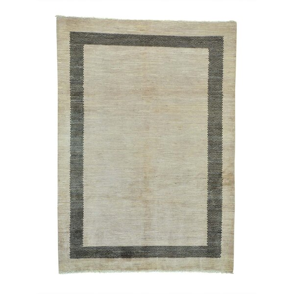 One-of-a-Kind Ferriera Modern Oriental Hand-Knotted Beige Area Rug by Latitude Run