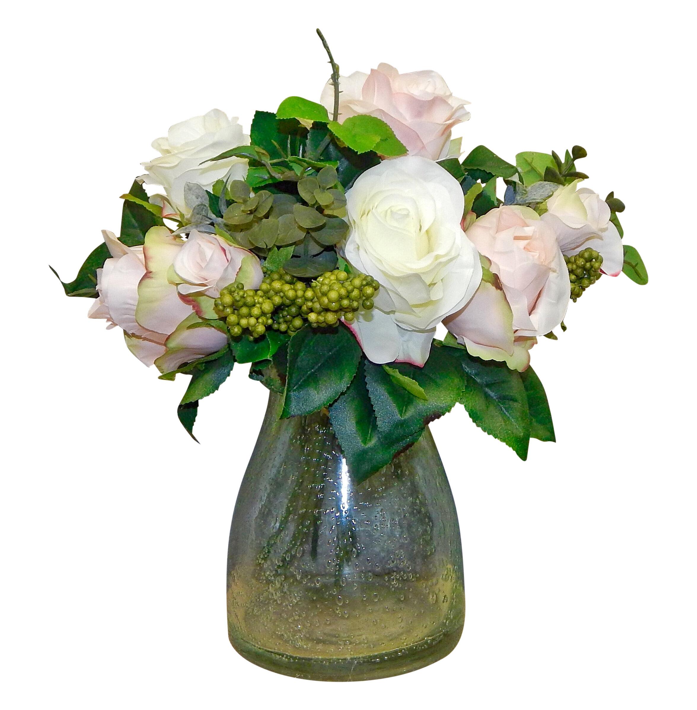 One Allium Way Garden Bouquet Rose Centerpiece In Terrarium Vase   Wayfair