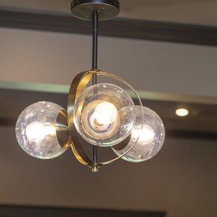 Compare prices Melany Globe 3-Light Semi Flush Mount By Orren Ellis