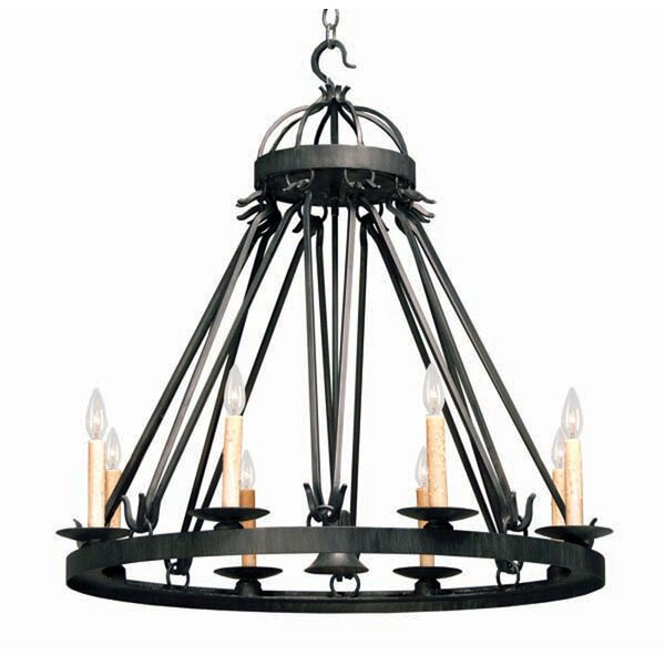 Lakeshore 9 - Light Candle Style Wagon Wheel Chandelier by 2nd Ave Design 2nd Ave Design