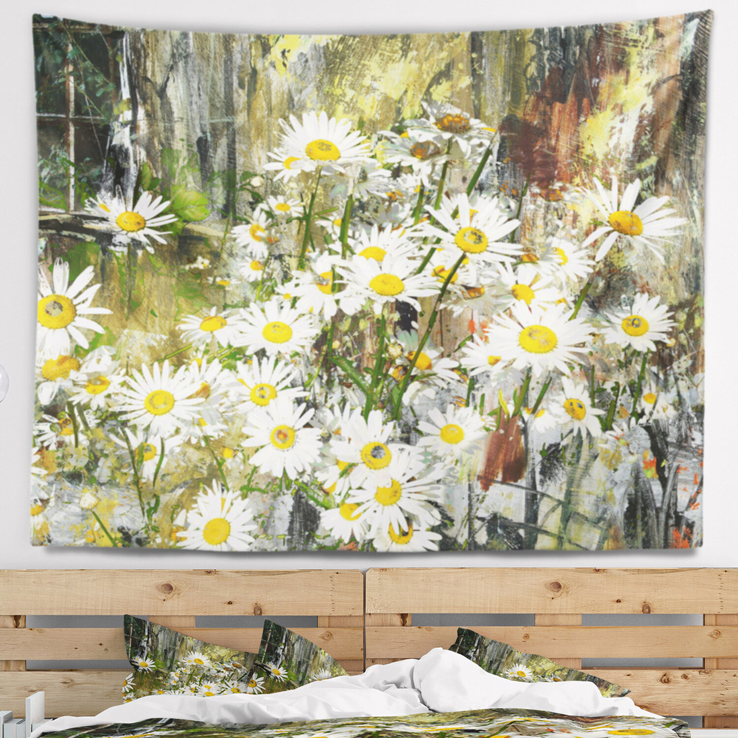 East Urban Home Floral Daisies Flowers Under The Window Tapestry And