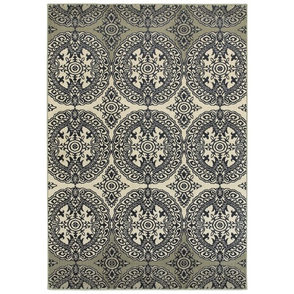 Newsome Floral Medallions Navy Area Rug by Red Barrel Studio