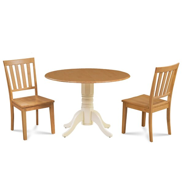 Kaiser 3 Piece Drop Leaf Solid Wood Dining Set by Millwood Pines