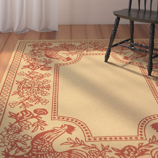 Laurel Natural/Red Rug by August Grove