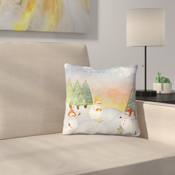 Skiing Snowman In Winter Forest With Bunny Throw Pillow by East Urban Home
