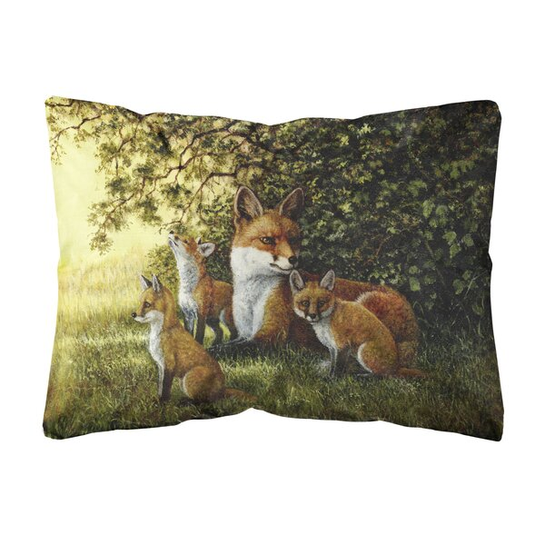 Siewert Foxes Resitng Under the Tree Fabric Indoor/Outdoor Throw Pillow by Winston Porter