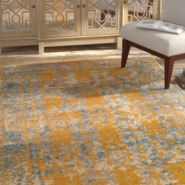 Penton Transitional Yellow/Blue Area Rug by Bungalow Rose