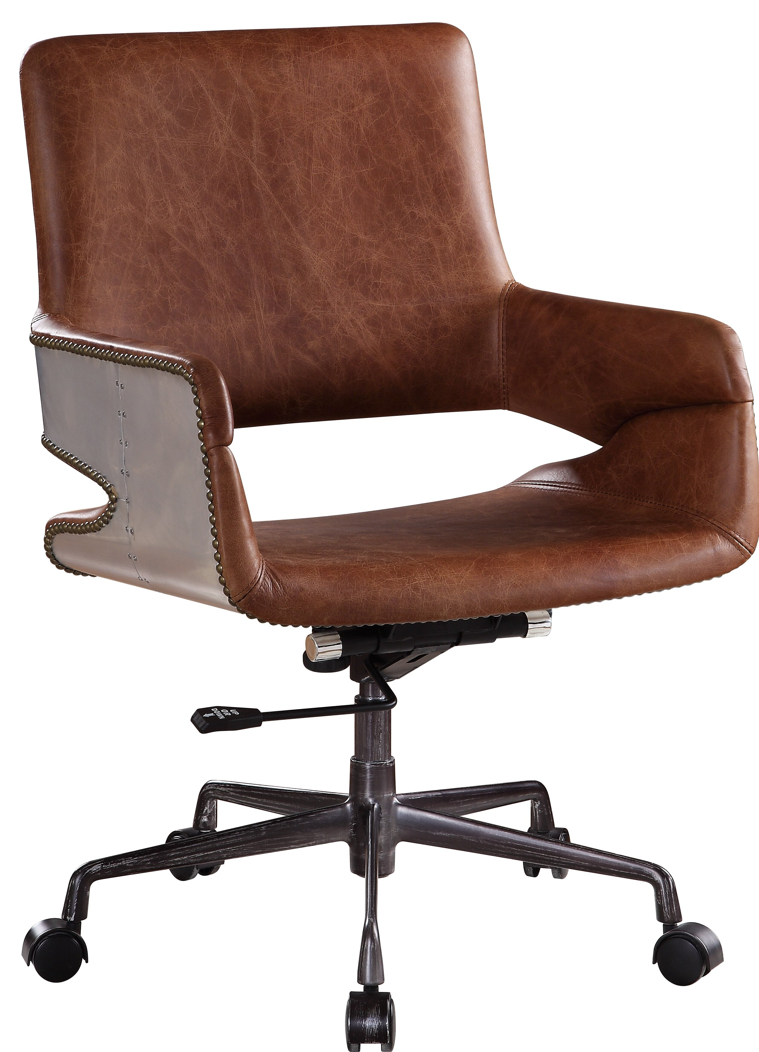 Union Rustic Faux Leather Upholstered