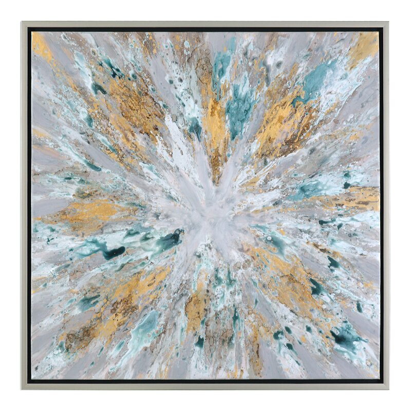 Exploding Star Modern\' Abstract Framed Oil Painting Print on Canvas ...