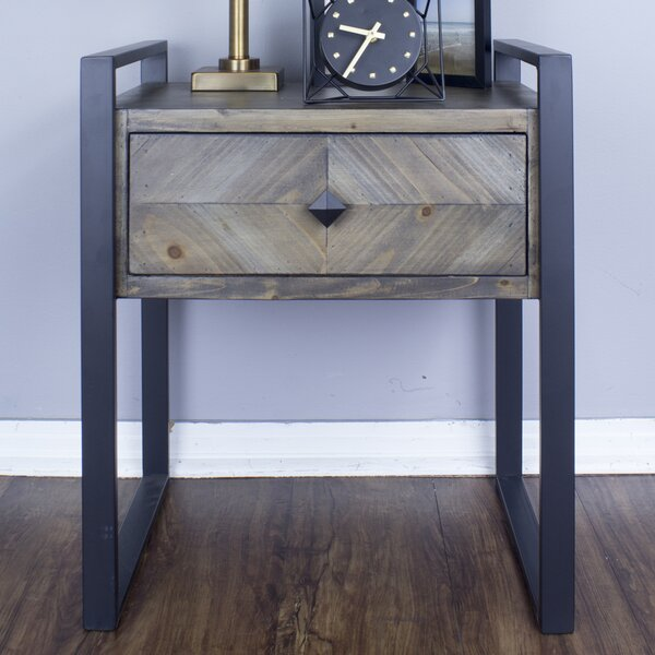 Delphine 1-Drawer End Table by 17 Stories