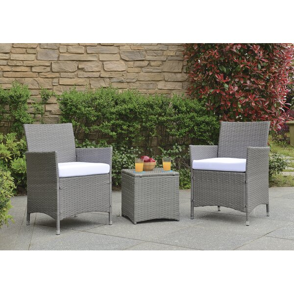 Almus 3 Piece Rattan Seating Group with Cushions by Zipcode Design