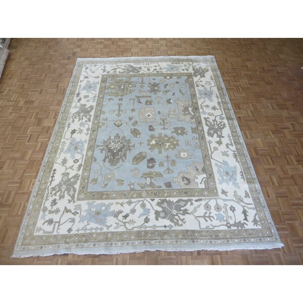 One-of-a-Kind Pellegrino Oushak Ushak Hand-Knotted Wool Soft Blue Area Rug by Bloomsbury Market