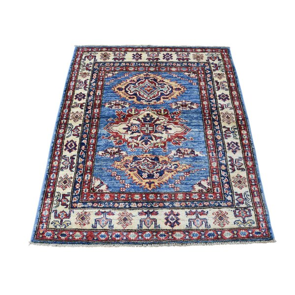 One-of-a-Kind Espada Super Geometric Oriental Hand-Knotted Blue Area Rug by Millwood Pines
