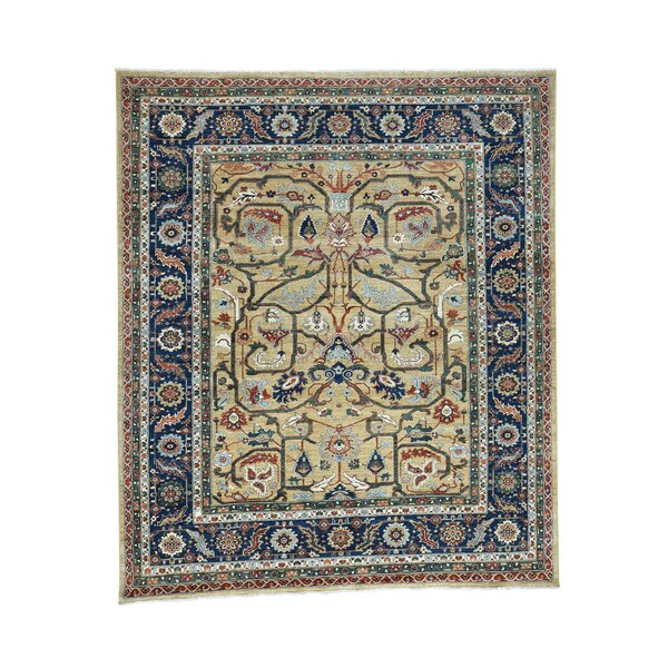 One-of-a-Kind Newcastle Re-Creation Oriental Hand-Knotted Yellow Area Rug by Astoria Grand