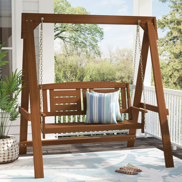 Arianna Hardwood Hanging Porch Swing with Stand by Langley Street