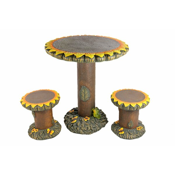3 Piece Sunflower Table and Chair Novelty Garden Patio Furniture Set by Northlight Seasonal