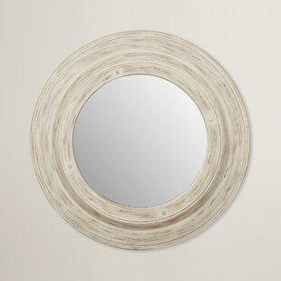 August Grove White Wash Round Wall Mirror
