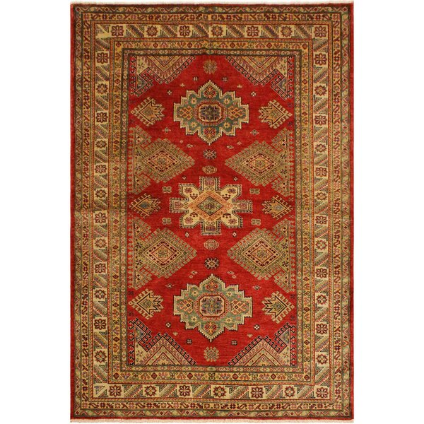 One-of-a-Kind Nina Super Kazak Hand-Knotted Wool Red/Light Tan Area Rug by Astoria Grand