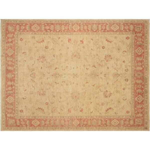 Xenos Hand-Knotted Wool Light Gold/Pink Area Rug by Astoria Grand