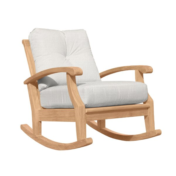 Lowery Teak Rocking Chair with Cushions by Rosecliff Heights