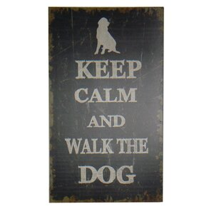 'Keep Calm and Walk The Dog' Wood Textual Art by Cheungs
