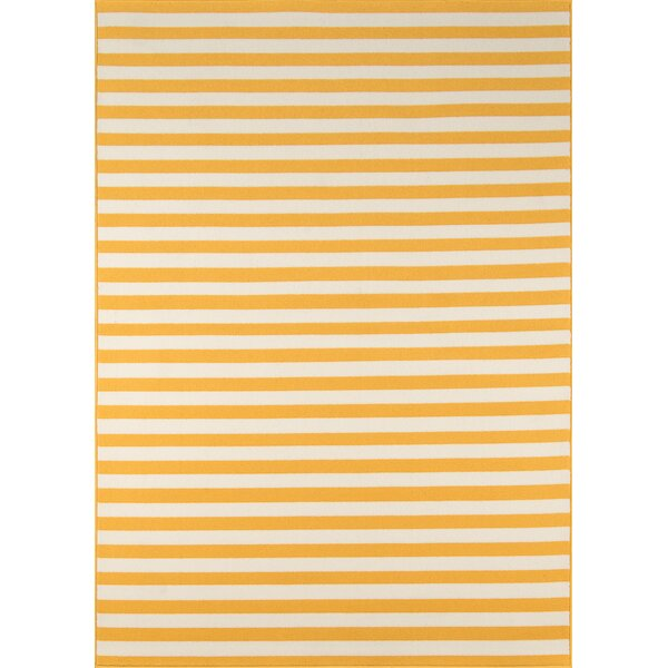 Halliday Yellow/White Indoor/Outdoor Area Rug by Beachcrest Home
