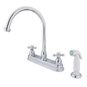 Kingston Brass Restoration Double Handle Kitchen Faucet with Non-Metallic Spray