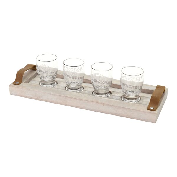 Glass and Mango Wood 2 oz. 4 Piece Beer Tasting Flight Set by Floor 9