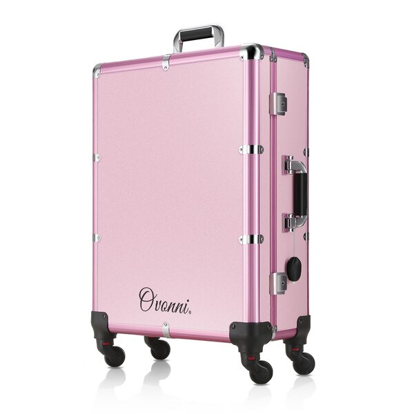 LED Lighted Rolling Travel Case with Mirror and 4 Detachable Wheels Lockable Trolley by LANGRIA