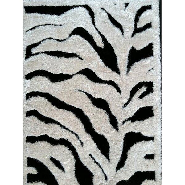 Shaggy Viscose Design Zebra Area Rug by Rug Factory Plus