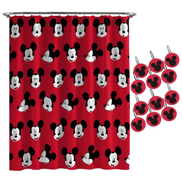 Red Mickey Mouse Head With Black Border Curtain Valance Curtains Blinds Shutters Handmade Products