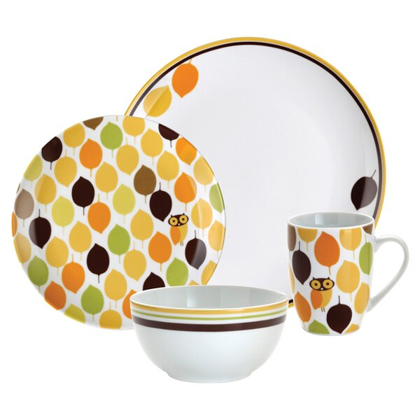 Little Hoot 16 Piece Dinnerware Set, Service for 4 by Rachael Ray