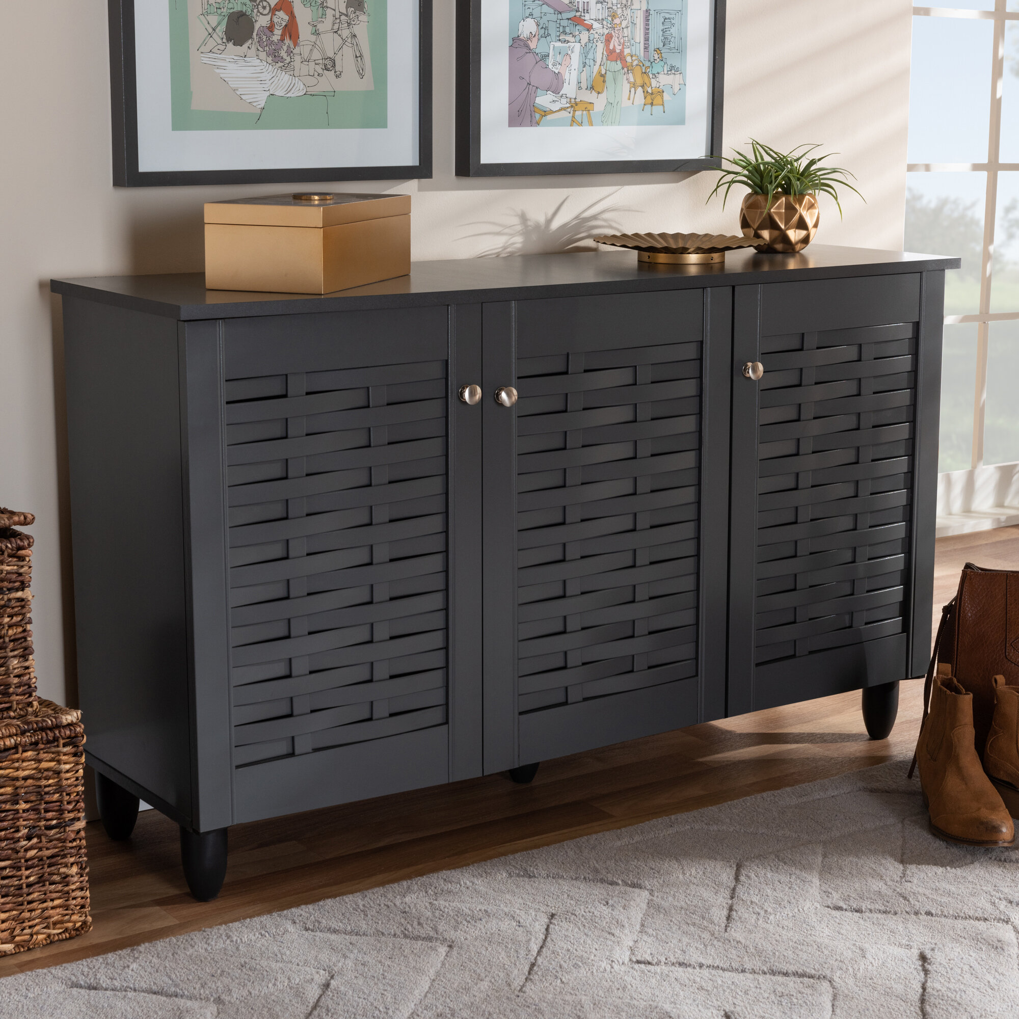 Winston Porter Entryway 12 Pair Shoe Storage Cabinet & Reviews