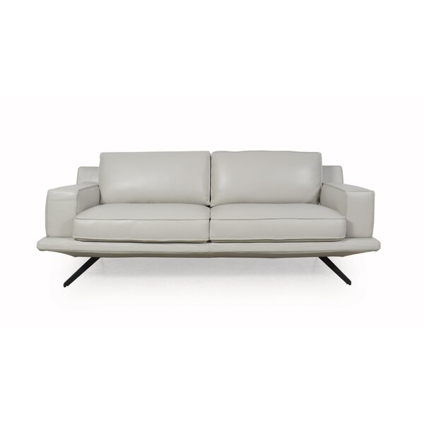 Bernice Leather Sofa by 17 Stories