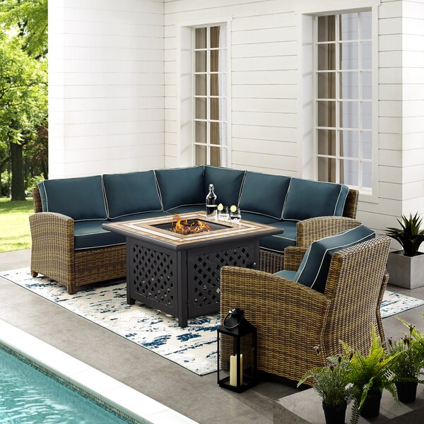 Lawson 5-Piece Rattan Sectional Seating Group with Cushions by Birch Lane™ Heritage