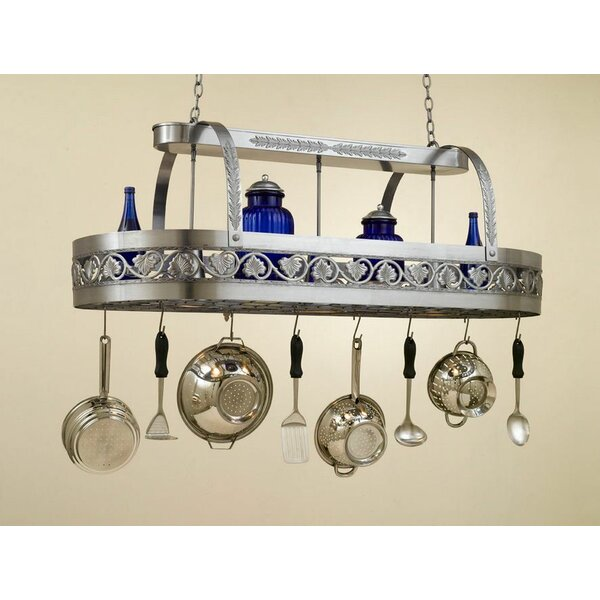 Leaf Rounded Hanging Pot Rack with 2 Lights by Hi-Lite