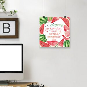'Fun Watermelon Melon Fruit Saying' Graphic Art Print by East Urban Home