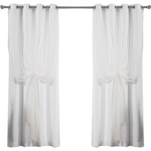 Mix And Match Tulle Semi Sheer Grommet Curtain Panels Set Of 2